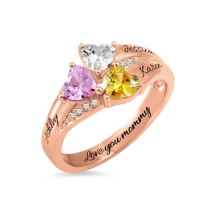 Exclusive Custom Heart Birthstone Engraved 3 Names Ring in Rose Gold