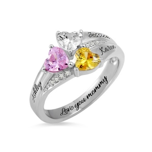 Incredible Custom Heart Birthstone Engraved Names Ring Sterling Silver