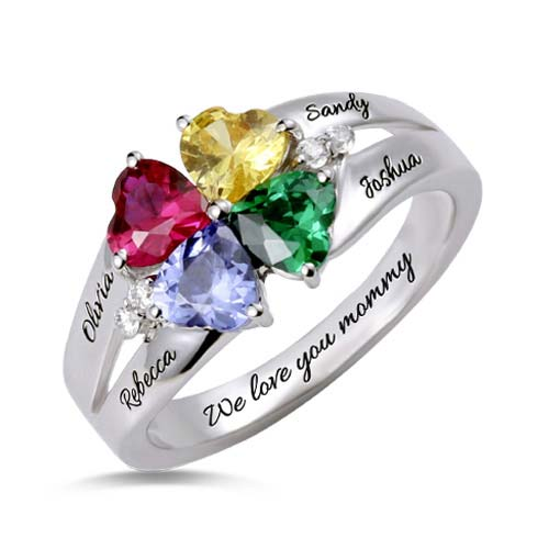 Custom Four Heart Birthstone Ring Sterling Silver