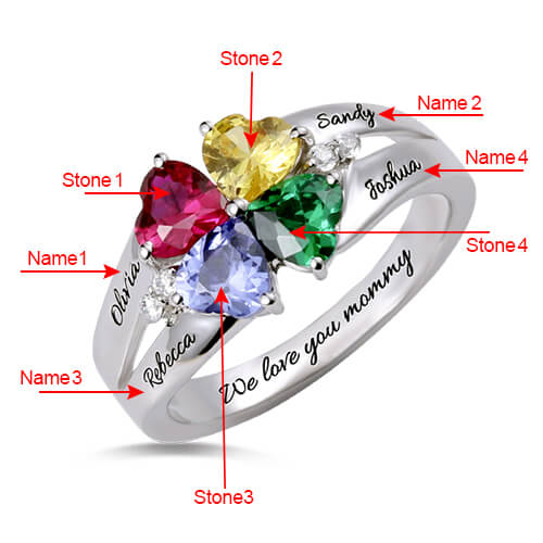 heart birthstone ring