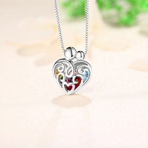 cage necklace with birthstone