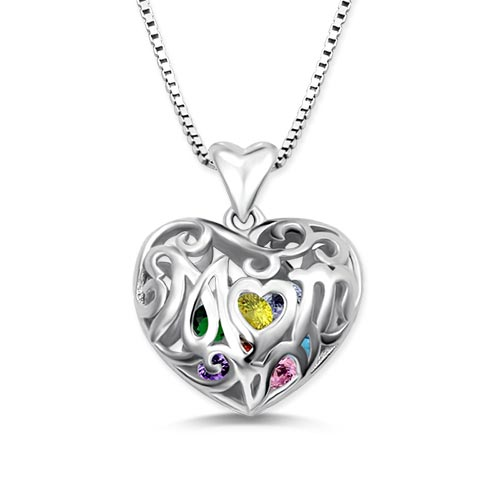 Custom Heart Cage Birthstone Necklace Sterling Silver