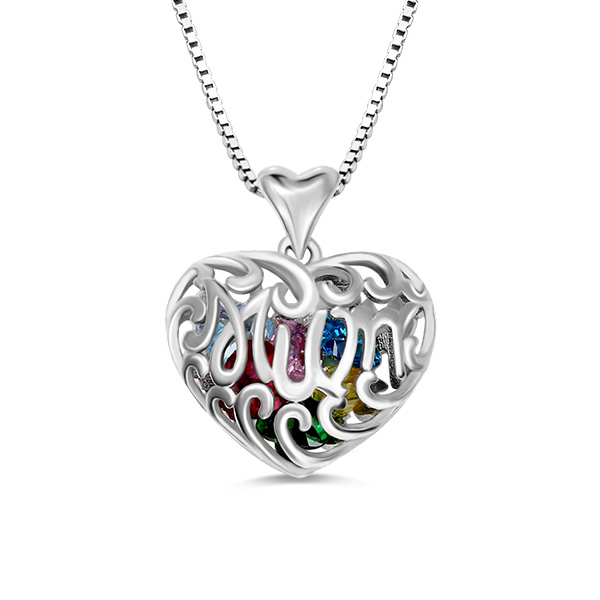Personalized Birthstone Heart Cage Necklace Sterling Silver