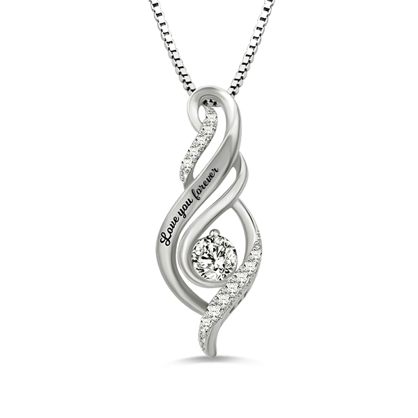 Personalized Birthstone Accent Twist Flame Pendant Birthday Necklace In Sterling Silver