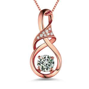 Customized Infinity Birthstone Necklace In Rose Gold