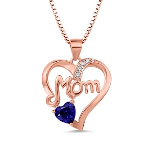 Mom Heart Necklace With Birthstone Rose Gold