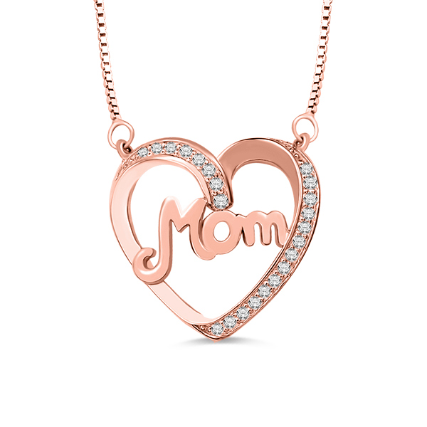 Mom Necklace With Birthstone In Rose Gold