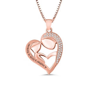 Personalized Mom And Daughter Necklace In Rose Gold