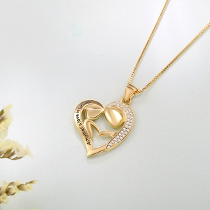 Personalized Mom And Daughter Necklace In Gold