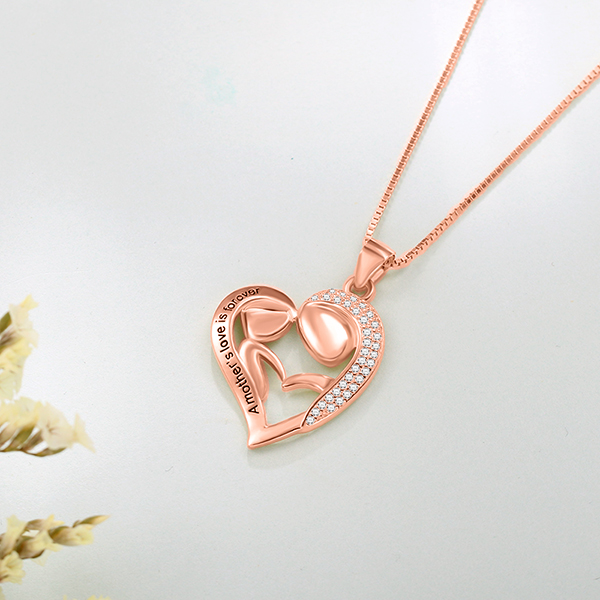 Pesonalized Mom And Daughter Necklace In Rose Gold