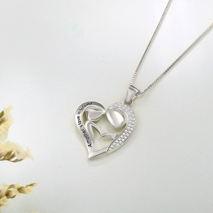 Pesonalized Mom And Daughter Necklace In Silver
