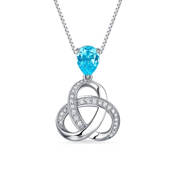 Customized Sterling Silver Birthstone Triple Knot Necklace