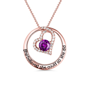 Engraved Open Heart Circle Necklace In Rose Gold