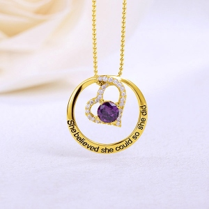 Engraved Open Heart Circle Necklace In Gold