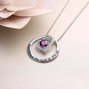 Engraved Open Heart Circle Necklace In Silver