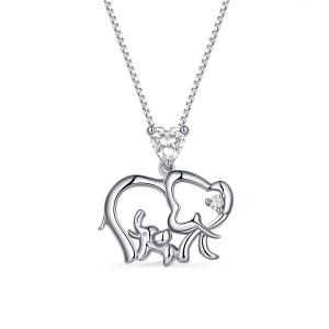 Personalisierte Elefant Kette mit Geburtsstein für Mutter