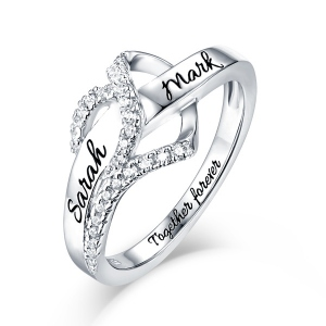 Customized Heart CZ Ring Sterling Silver