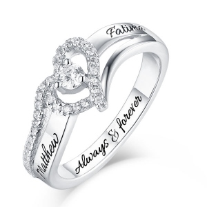 Engraved Sterling Silver Heart Shape CZ Ring