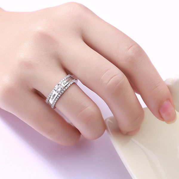 Engraved Cubic Zirconia Promise Ring Set