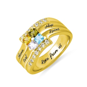 Personalized Four Square Gemstone Ring In Gold