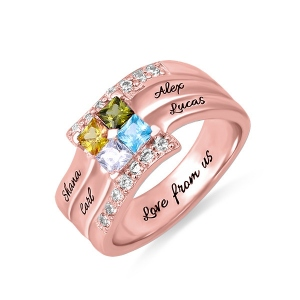 Personalized Four Square Gemstone Ring In Rose Gold