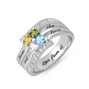 Personalized Four Square Gemstone Ring In Silver