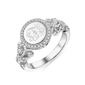 Gravierter Monogramm-Ring in Kronenform in Sterlingsilber