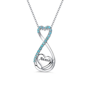 2018 Christmas Day Gift Engraved Heart Infinity Name Necklace