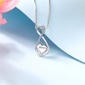 infinity necklace with heart
