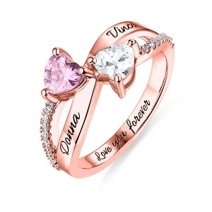 Engraved Two Heart Shaped CZ Ring In Rose Gold