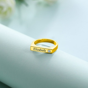 Engraved Bar Ring With Birthstone In Gold