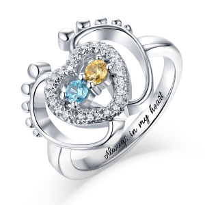 Stylish Custom Little Footsteps Heart Ring With Birthstones