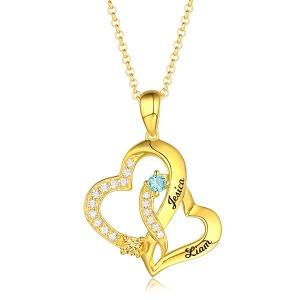 Personalisierte Doppelherz Halskette mit 2 Namen und Geburtssteinen  in Gold