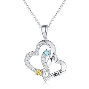Personalisierte Doppelherz Halskette mit 2 Namen und Geburtssteinen in Sterling Silber