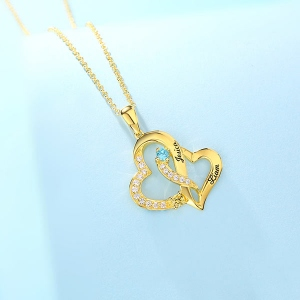 Personalized Double Heart Necklace with 2 Names & Birthstones Sterling Silver in Gold