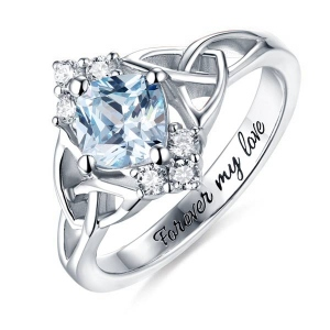 Gravierte keltische Band Ring mit Geburtsstein in Sterling Silber