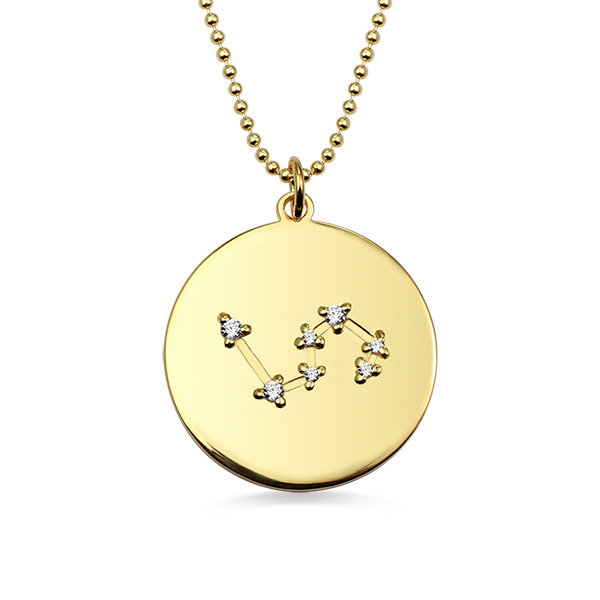 Zodiac Sign Disc Necklace Gold Plated Silver