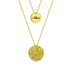 Custom 2 Layered Name Disc Necklaces Gold Plated Silver
