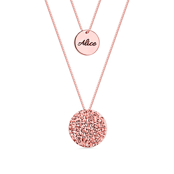 Custom 2 Layered Name Disc Necklaces Rose Gold Plated Silver