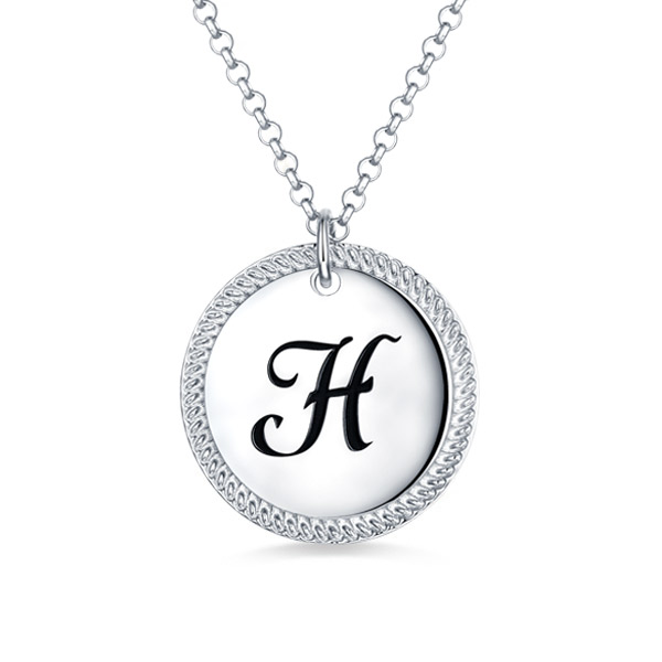 Personalized Circle Initial Necklace Sterling Silver