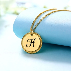 Personalized Circle Initial Necklace In Gold