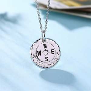 Personalized Compass Necklace in Sliver