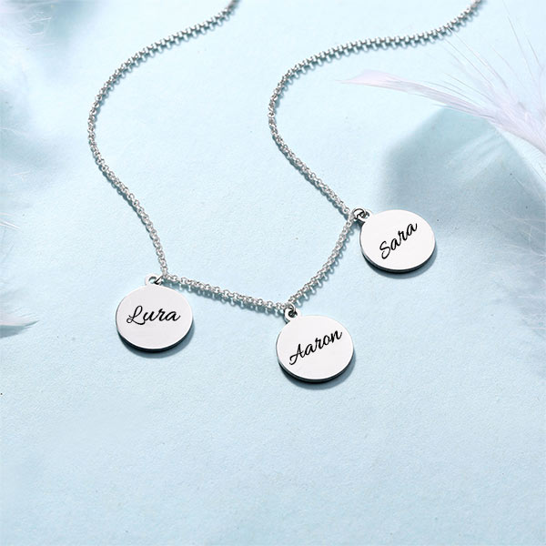 5c48a377afb50 Personalized Triple Discs Name Necklace Sterling Silver