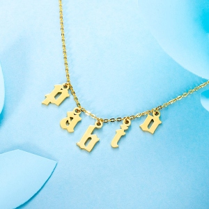 Collier Choker-9 lettres-Plaqué Or