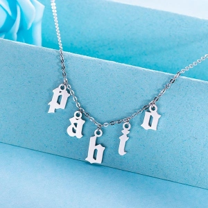 Personalized Letter Choker  Necklace Sterling Silver