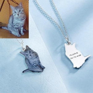 Personalized Pet Color Photo Necklace Sterling Silver