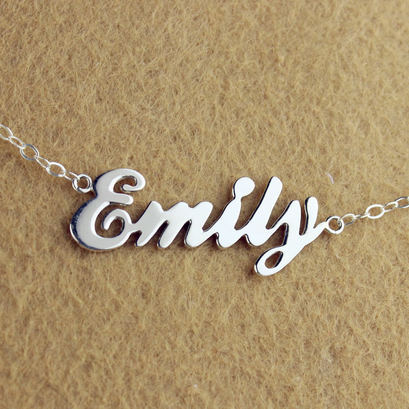 Custom cursive name necklace sterling silver aloadofball Image collections