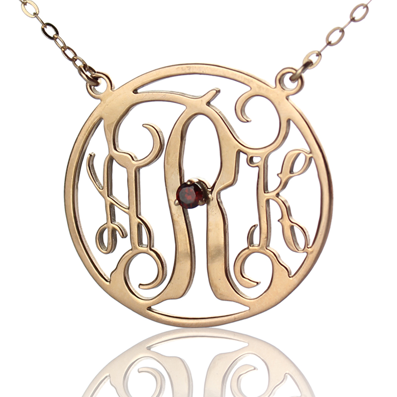 Rose gold circle birthstone monogram initial necklace aloadofball Image collections