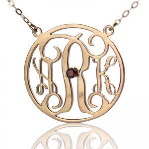 Rose Gold Circle Birthstone Monogram Initial Necklace