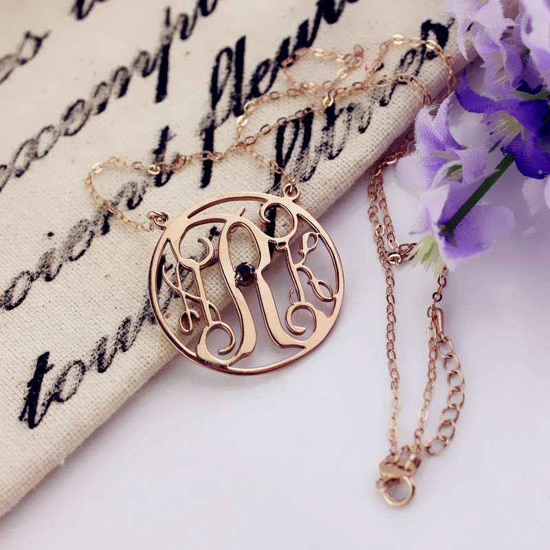 Rose gold circle birthstone monogram initial necklace mozeypictures Gallery